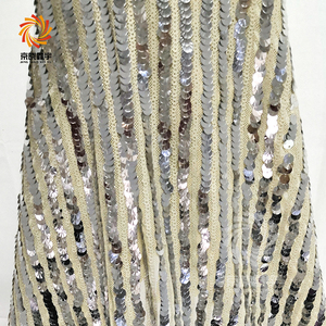 Quality Embroidered 3MM and 5MM Silver Sequins Mesh Fabric