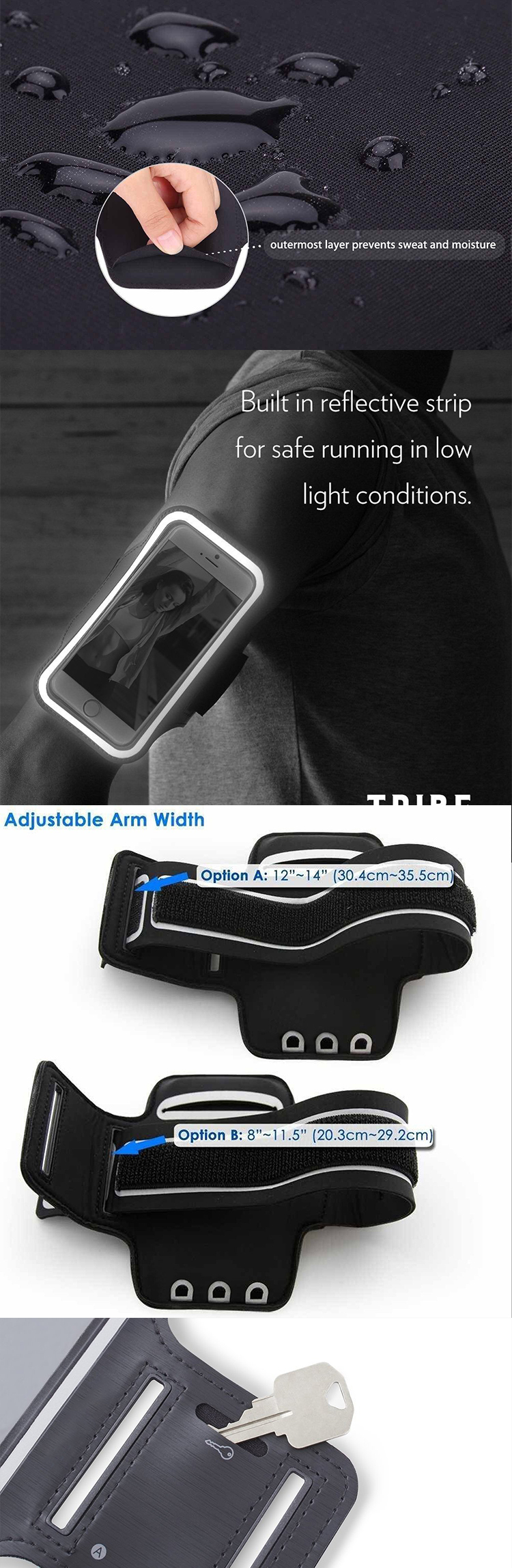 Factory Custom Reflective Cell Phone Sport Armband For Iphone