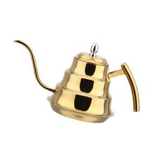 Капельная Кофеварка из нержавеющей стали, чайник, инфузионный гусиная шея, золотой, серебристый(Китай)