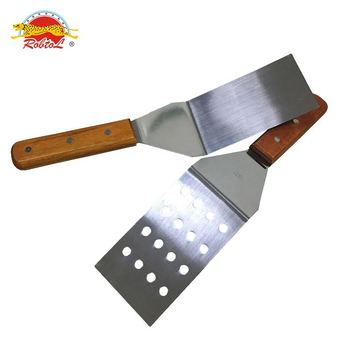 cheese shovel Stainless Steel Porous pizza shovel with wood handle