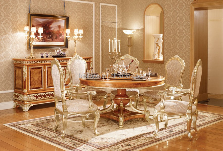 Estilo vintage oro hoja de muebles elegante rectangular for Muebles de comedor elegantes