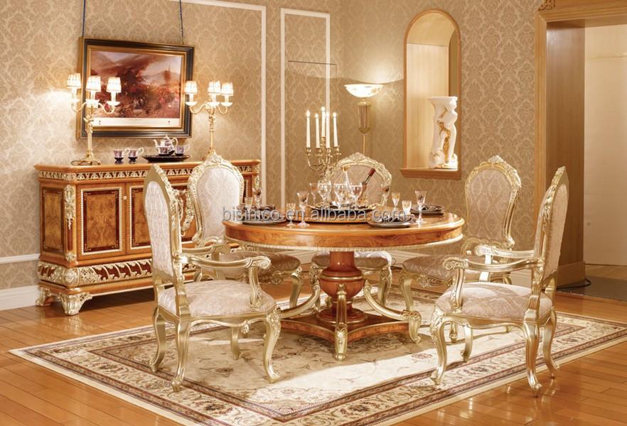 Estilo vintage oro hoja de muebles elegante rectangular for Sala comedor comedor rectangular