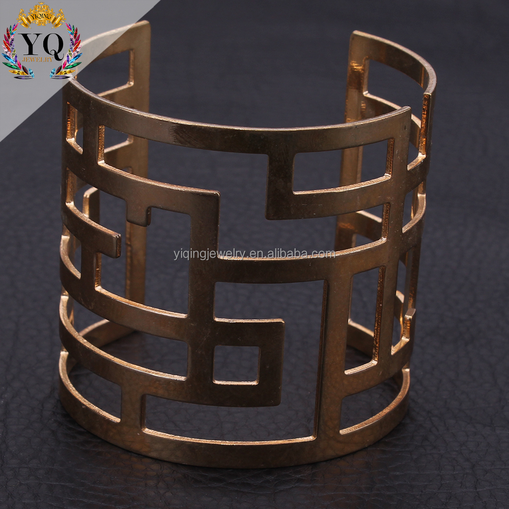 BYQ-00240 dubai gold bracelet designs charming plated metal hollow bangle bracelet adjustable men bracelet 2016