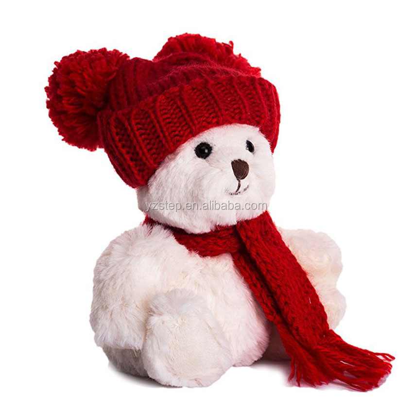 "6"" Stuffed Animal Wearing Trendy Knit Beanie Hat Teddy Bear"