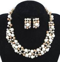 Fashion African Beads Imitation Pearl Necklace Earrings Dubai Gold Plated Jewelry Costume Bridal Jewelry Sets Wholesale