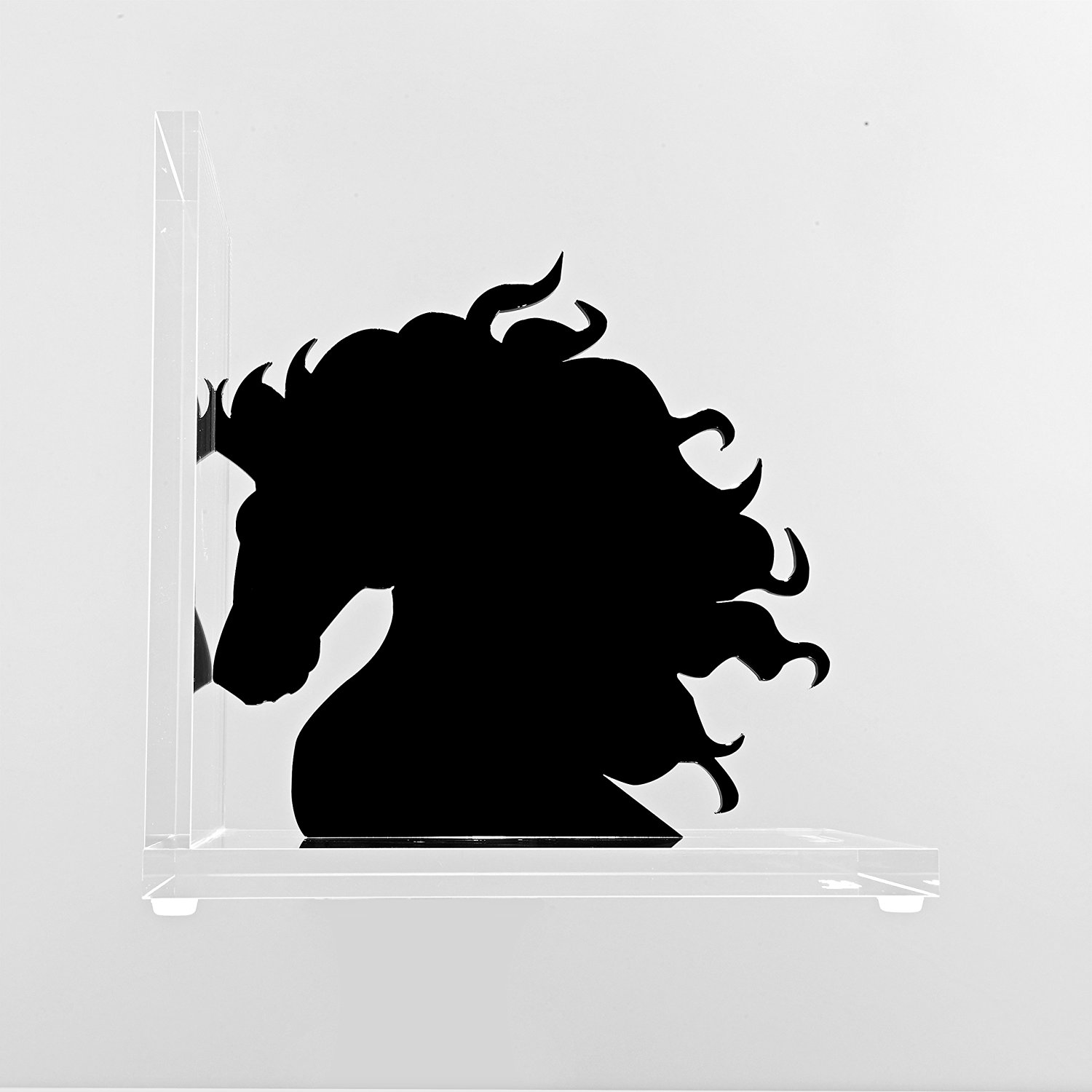 Acrylic Bookend - Horse Head. High Quality Modern Bookend Clear Acrylic (Perspex) Base and Laser Cut Horse Head Available in Black or White. (Black)