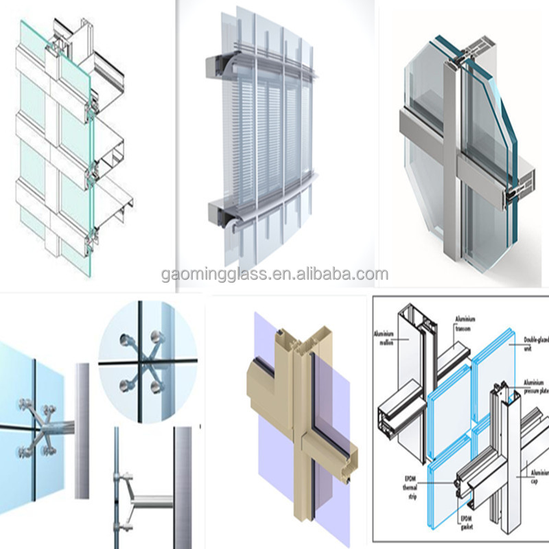 Double glazing glass curtain wall price buy curtain wall for Double glazed glass panels