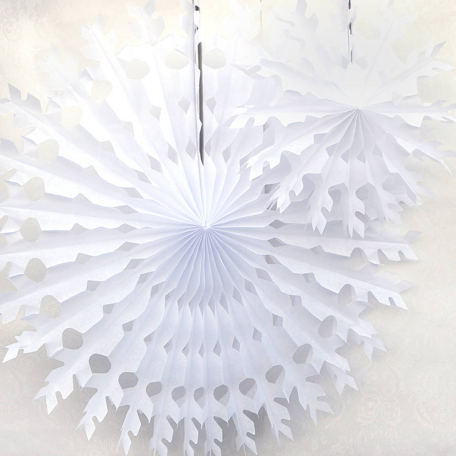 Paper tissue snowflake christmas decorations - Paper Tissue Snow Flakes White Christmas Snowflake Tissue Paper Fan Tissue Hanging Fan Wedding Party Decoration