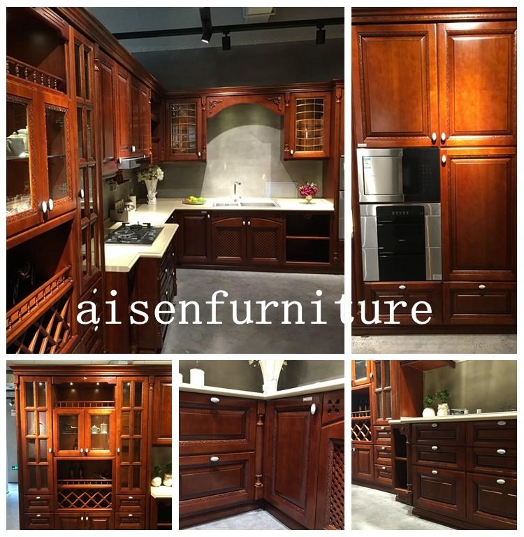 aisen most popular home design solid wood kitchen cabinet