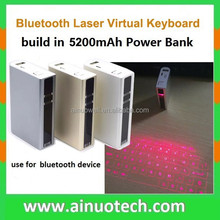 wireless virtual projection layout keyboard bluetooth laser keyboard and mouse with 5200mah power bank, speaker and music player