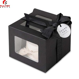Custom made food grade package box cake box black clear plastic square cake box
