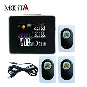 Home Weather Station with LED Digital Clock with Backlight In/Outdoor Thermometer Hygrometer Alarm Clock