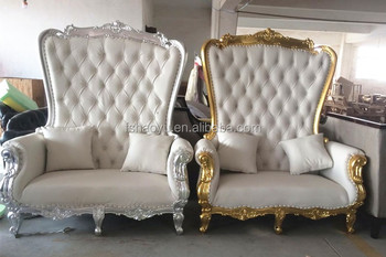 2017 New Design High Back King Throne Chair, White Throne Love Seat