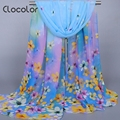 Clocolor Floral Printed Chiffon Scarves for Women Bohemia Style Colorful Beach Shawl scarf Autumn Winter Scarves