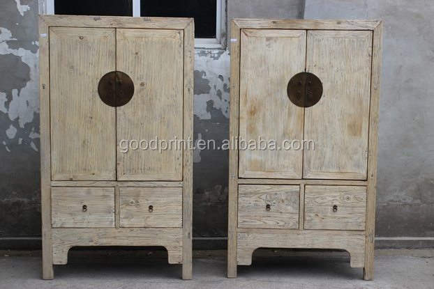 14062624 Hotel bedroom furniture/Recycle elm wood natural hotel wardrobe closets