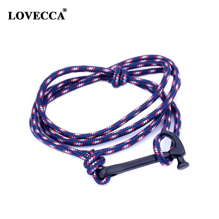 New hammer Vikings Anchor hook handmade Nylon paracord black Hook anchor bracelet Viking bracelet