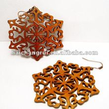 Delicate laser cutting wooden earing