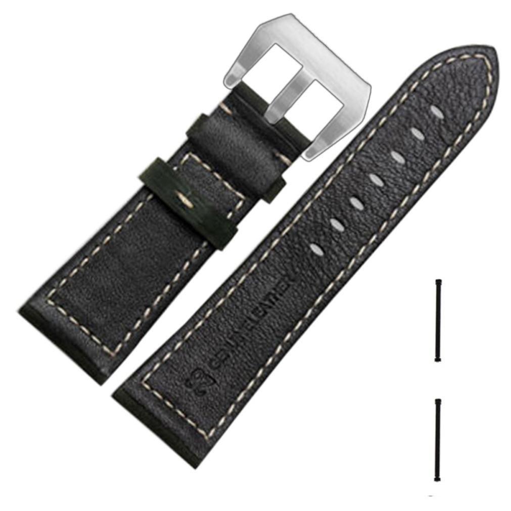Coerni Smart Watch Band Leather Watch Replacement Band Strap + Lugs Adapters For Garmin Fenix 3 (Black)
