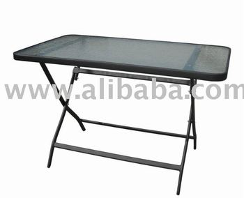 Outdoor Garden Furniture Steel Folding Glass Dining Patio Table