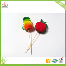 Party supply decorative wooden bamboo fruit picks