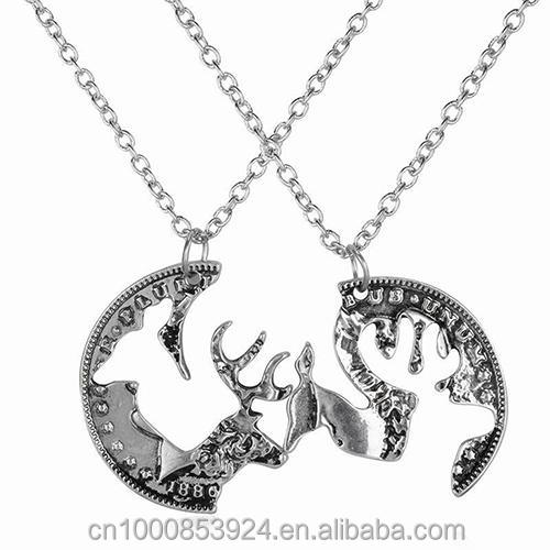 Silver Fashion Necklace Set Best Friends Necklace For 2 BBF Friendship Gift Couples Pendant Coin Puzzle Necklace