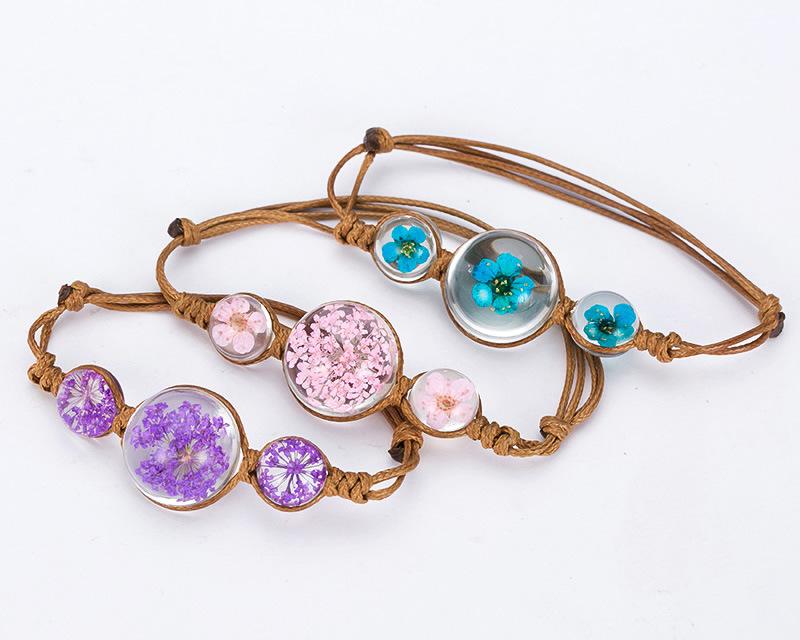 Handmade Dried Flower Resin Bracelet