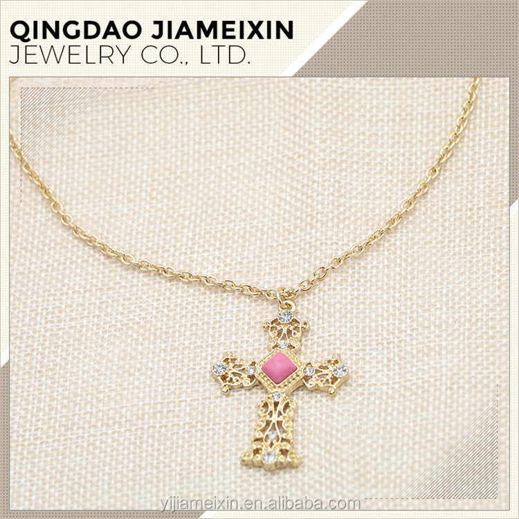 N0178 Pink stone gold chain cross pendant necklace