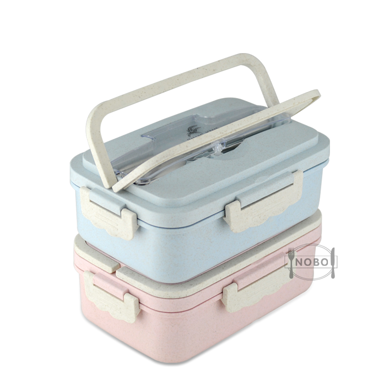 BPA Free Manufactory Rectangular Rice Husk Bento Food Storage Wheat Straw Meal Food Containers
