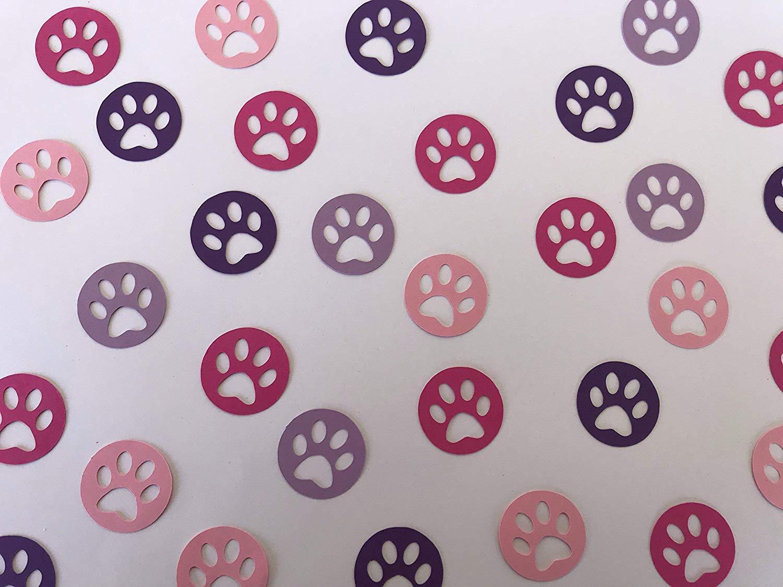 Pink And Purple Paw Print Confetti