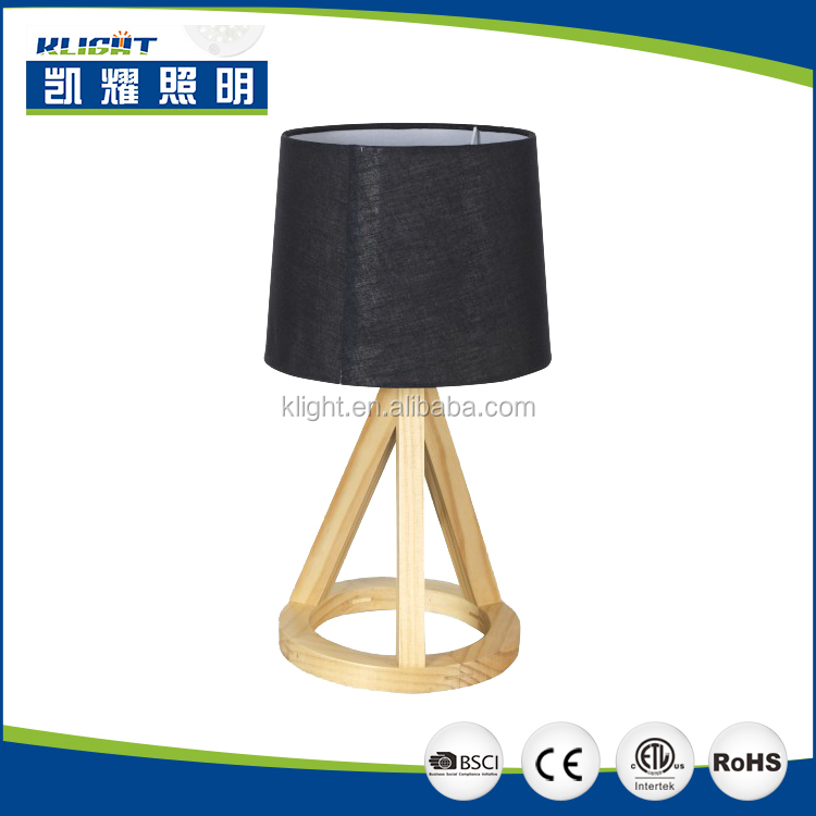 Simple wood Desk Lamp with Balck Fabric Shade for Bedroom Living Room Office Study