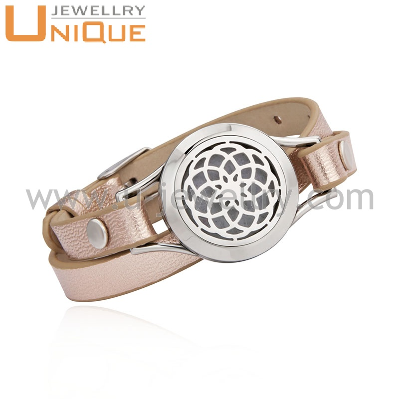 Fashion twist-open locket bangle 316L stainles steel essential oil diffuser perfume locket slap bracelet