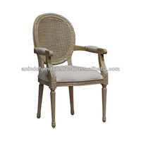 Painted Oval Carved Rattan Back Arms Chair