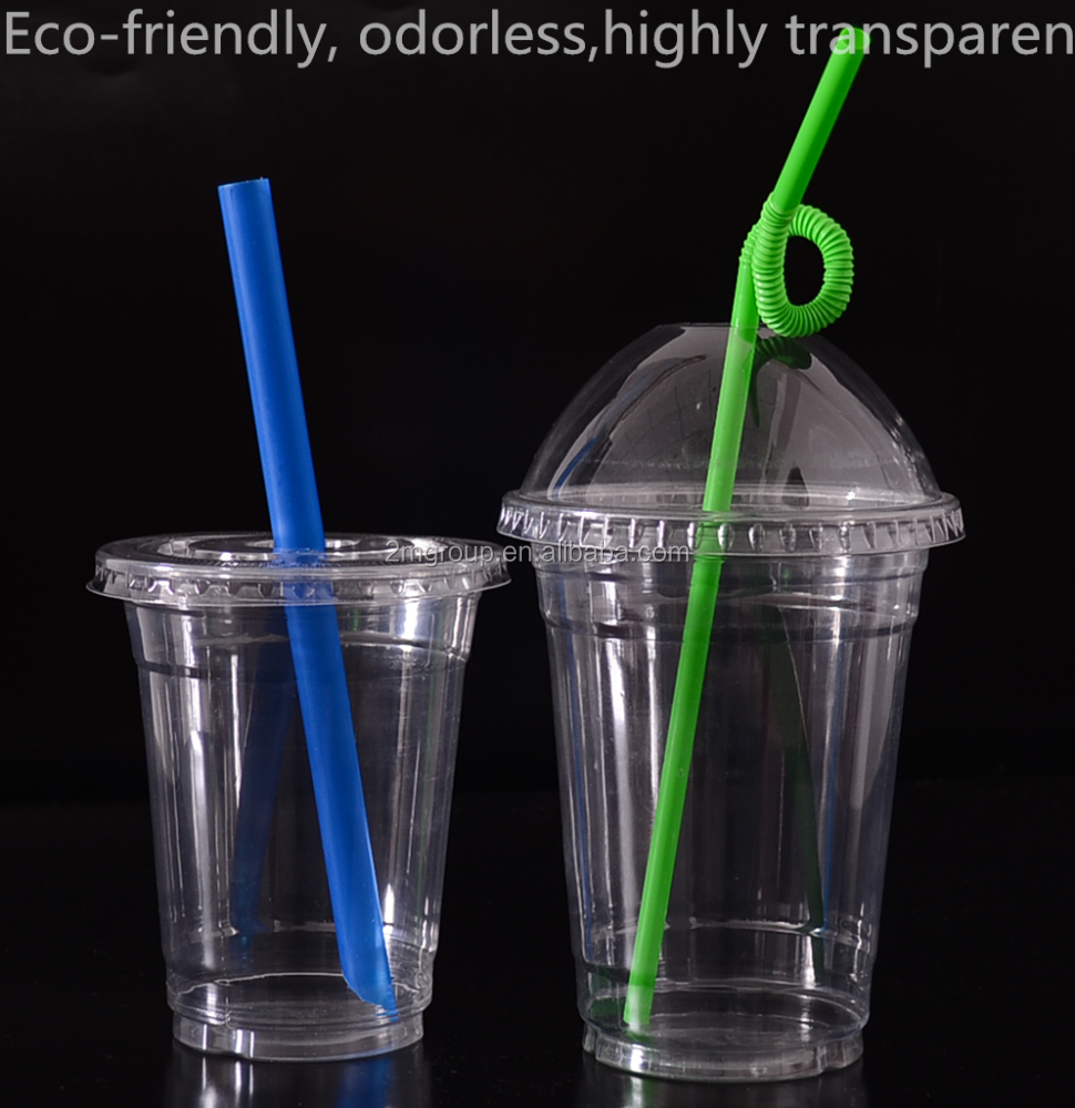 16oz wholesale disposable fashion customized plastic cup with lid and straw