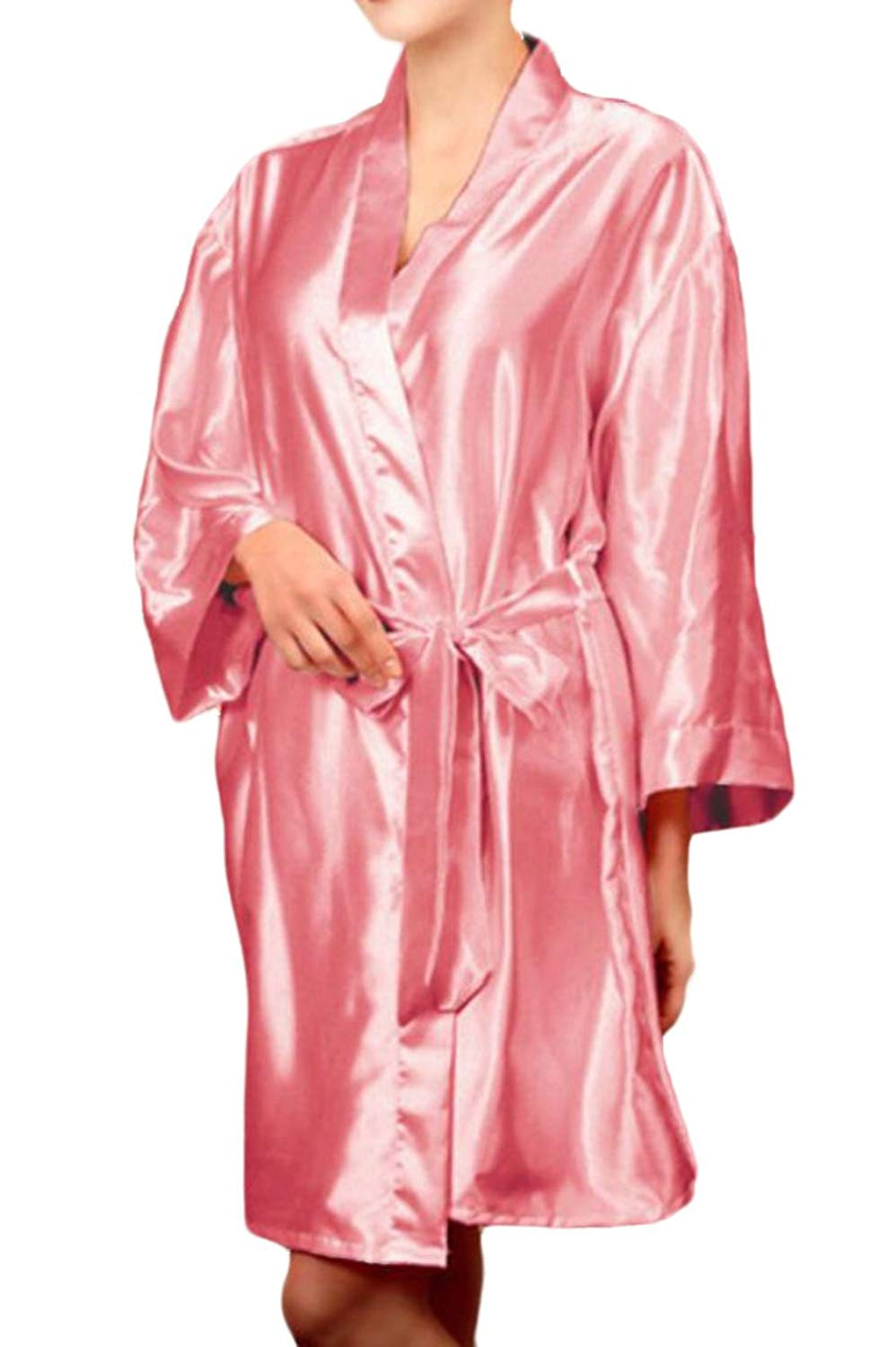 Get Quotations · Fubotevic Women Solid Plus Size Nightgowns Sleepwear Silk  Satin Nightgowns c4ace4956