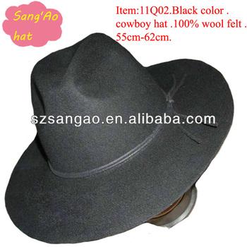 Wholesale Black Big Flat Brim Cowboy Hats 3c8a7bc845e