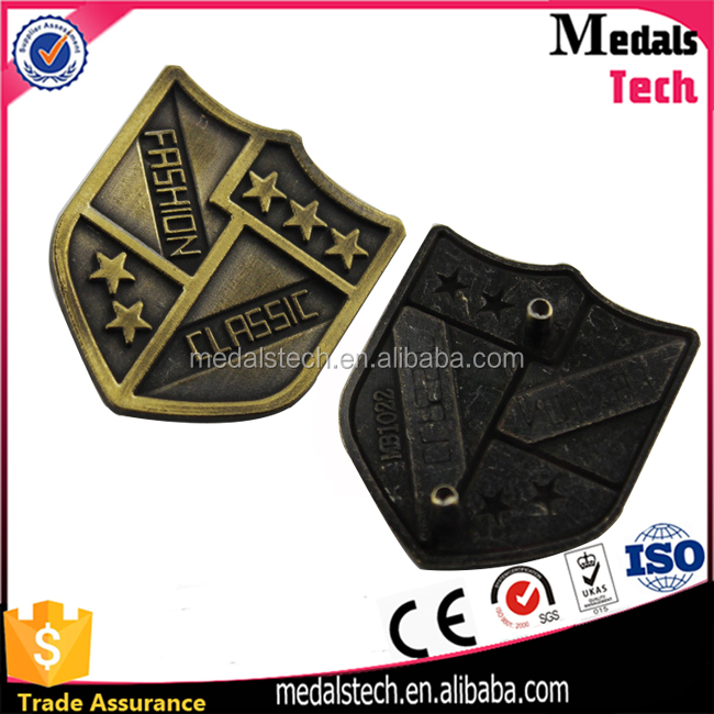 Shenzhen 8 years medal supplier customized metal label engraved metal logo name plaque for handbags