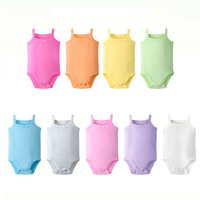 100% Cotton Sling Summer Sleeveless Solid Color Baby Girls Vest Romper Ropa Bebes
