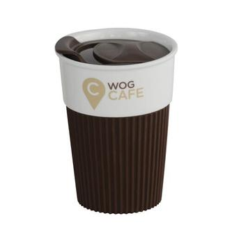 Ceramic Coffee Travel Mug With Plastic Lid And Silicone Sleeve