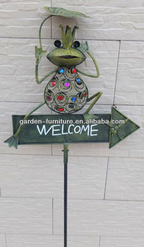 Welcome Garden Stake Signs Wrought Iron Frog Animal Outdoor Decoration Online High Quality