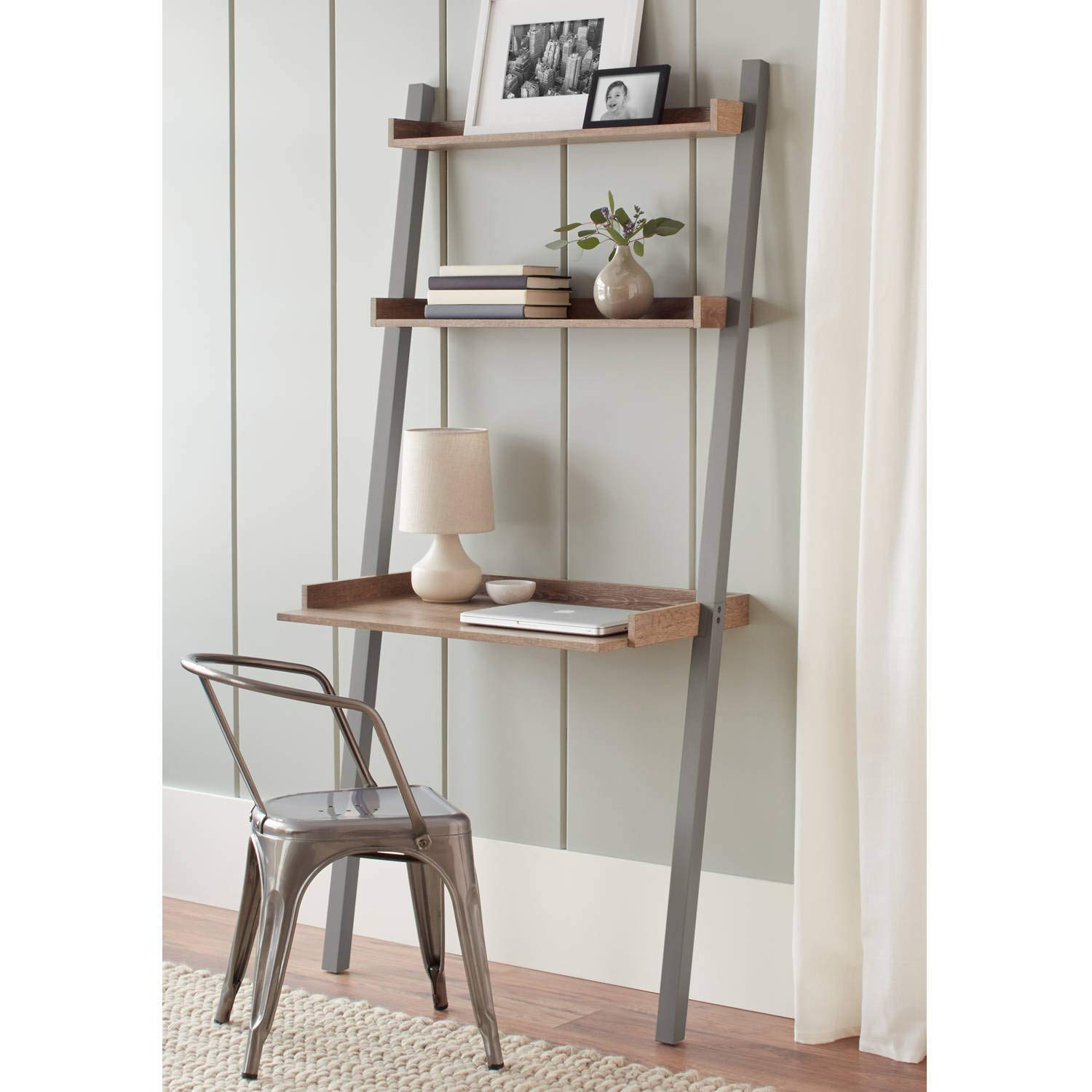 Leaning Desk, Gray Finish, Rustic Modern Design, Compact Shape, Space Saving, Solid Wood Legs, Weathered Wood Grain, Shelving, Open Space, Bundle with Our Expert Guide with Tips for Home Arrangement