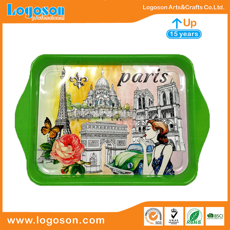Classical Gift Versailles Paris souvenir custom metal tray white yellow green black iron printing plate cheap decorative trays