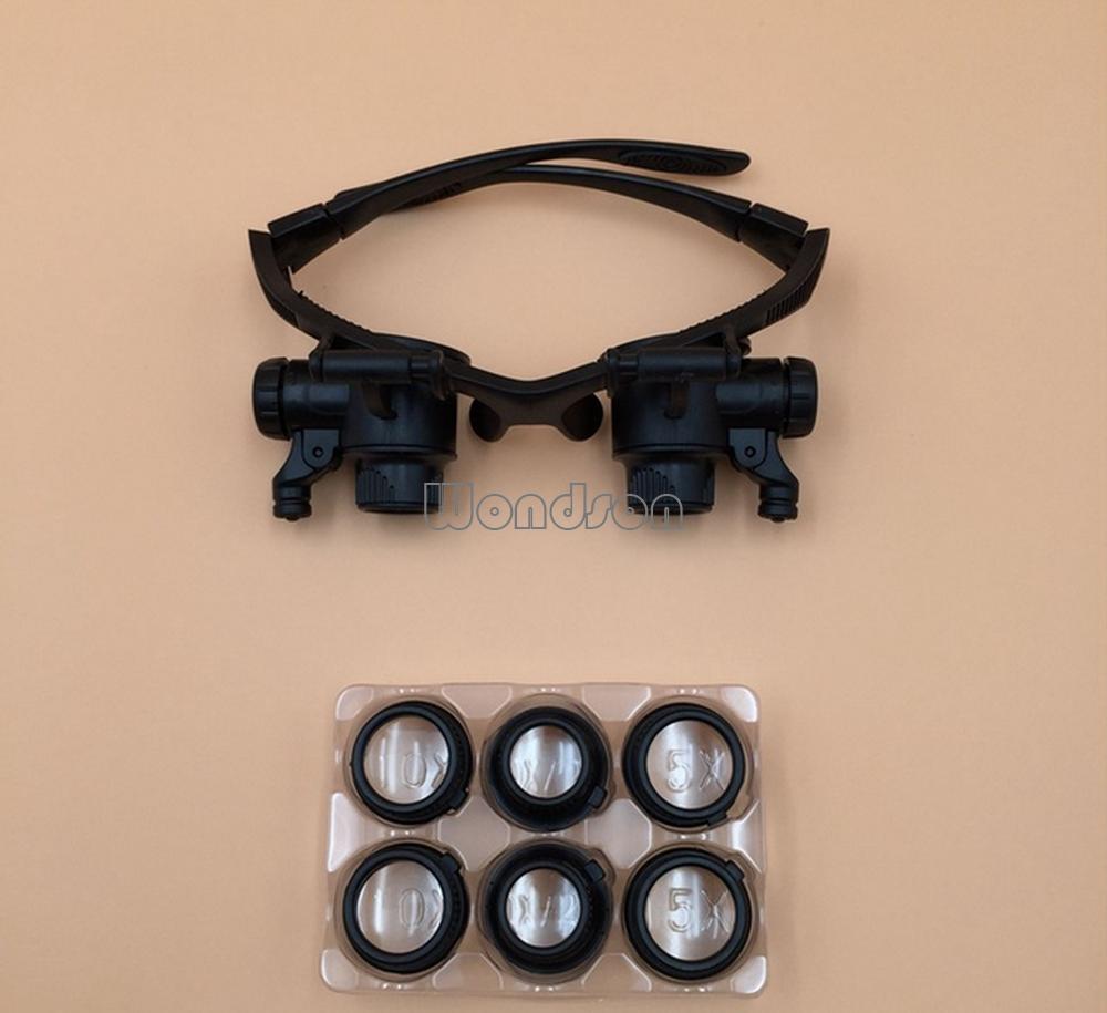 10x 15x 20x 25x Eye Dragen Vergrootglas Bril Led-verlichting Loupe ...