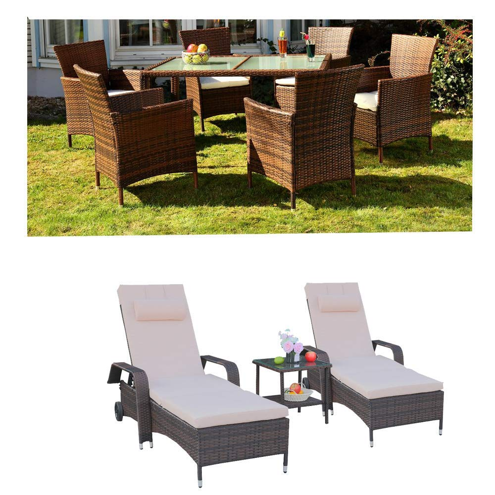 Get Quotations · Leaptime Patio Furniture Clearance Sale Garden Dining  Table Chair PE Rattan Chaise Lounge Outdoor Living Furniture - Cheap Dining Room Furniture Sale, Find Dining Room Furniture Sale