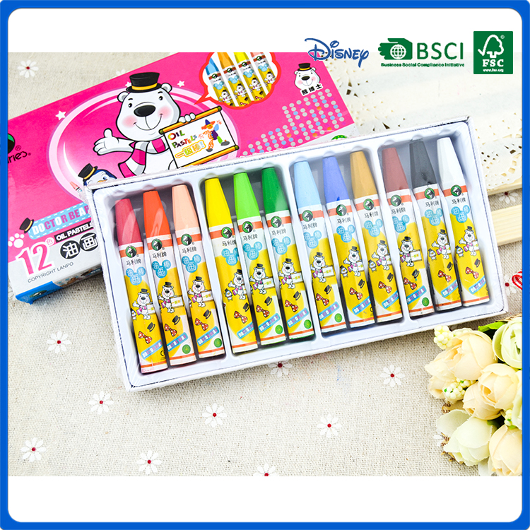 12 colors 3.5 inch colourful oil pastel box packing for art drawing