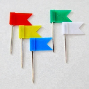 Stylish Useful 32mm ABS Plastic Colorful Flat Flag Head Map Pin For Marking