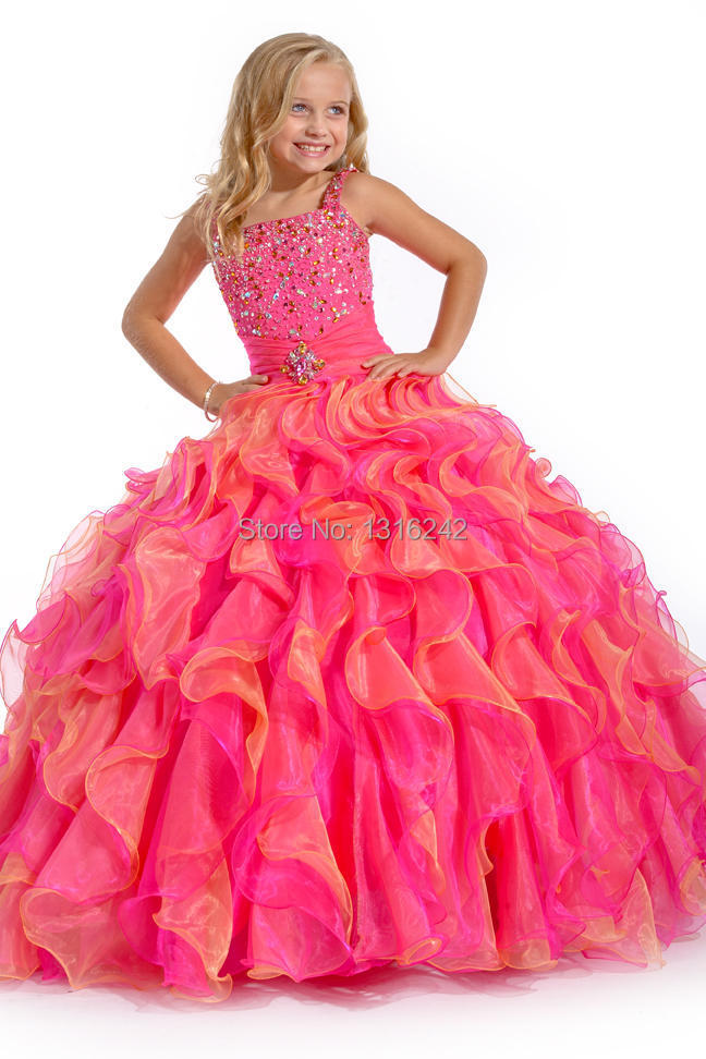 2015 New Style Fashion Hot Pink Little Girls Pageant Dress ...