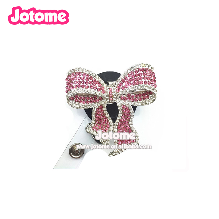 Infermiera arco bling del rhinestone di cristallo bobina retrattile ID badge holder con la cordicella