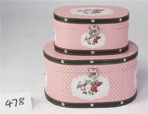 Custom Pink Canvas Wooden Hat Box Round