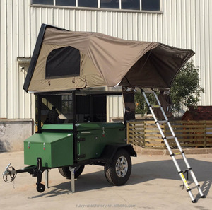 OEM TK-D2N Green Off-road Folding Camper Trailer with Top Roof Tent for Travel