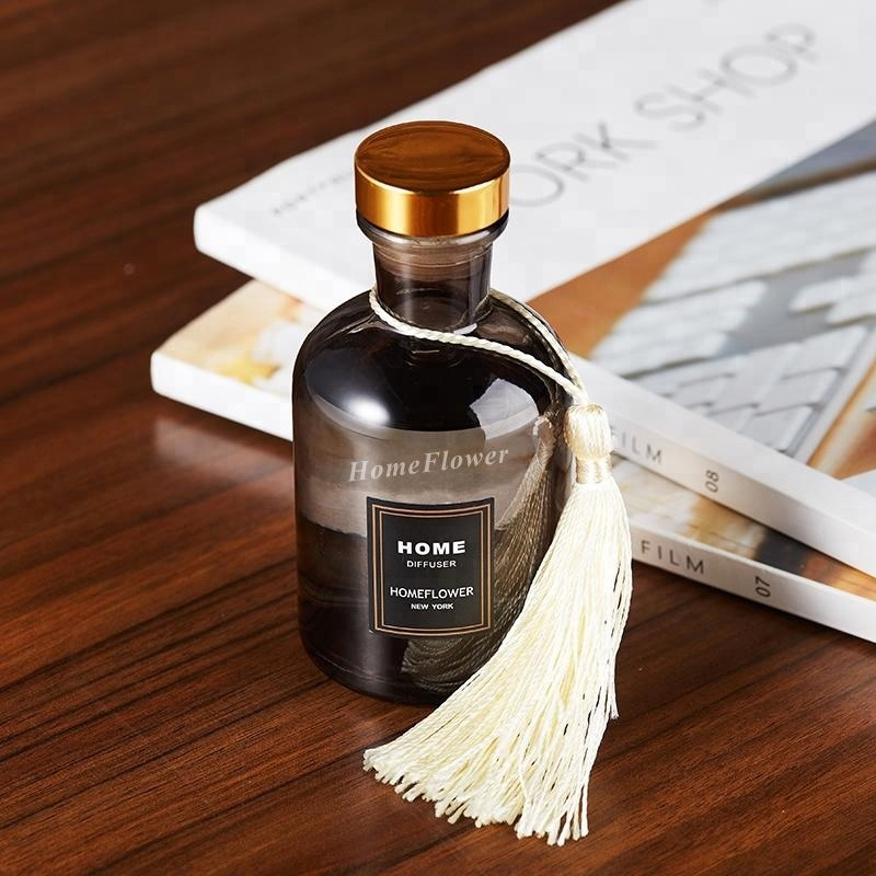 120ml Rubber Stopper Amber Color Reed Diffuser Glass Bottle with Tassel